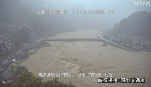 【2020/7/4球磨川(くまがわ)水位ライブカメラ映像】氾濫の発生場所とリアルタイム情報